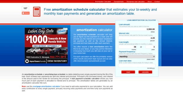 amortization schedule info amortization schedule calculator