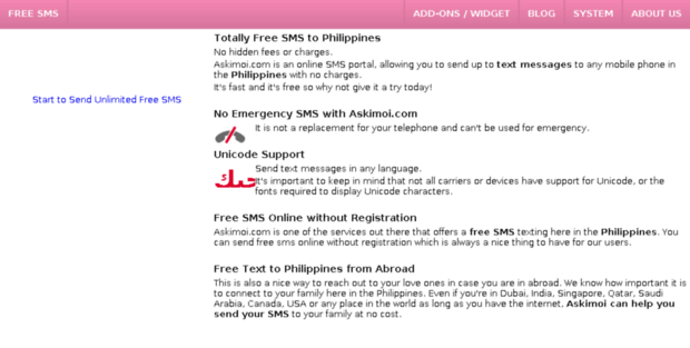 Askimoi  Send Free SMS to Any Mobile in the Philippines