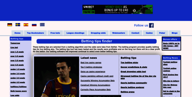 Betting Tips Finder  Quality betting tips - top bookmakers - Betfair