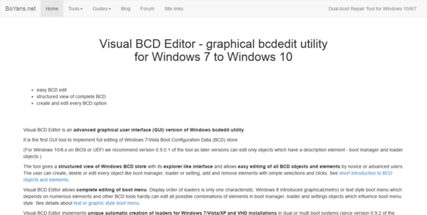 Boyans  Visual BCD Editor - graphical bcdedit for Windows 7-10
