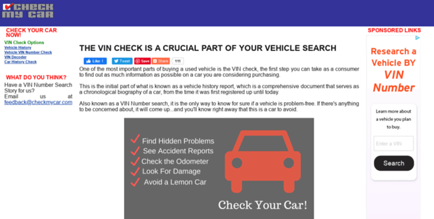 Car Vin Check >> Check Mycar Vin Check Vin Number Search Free Vehicle History Report