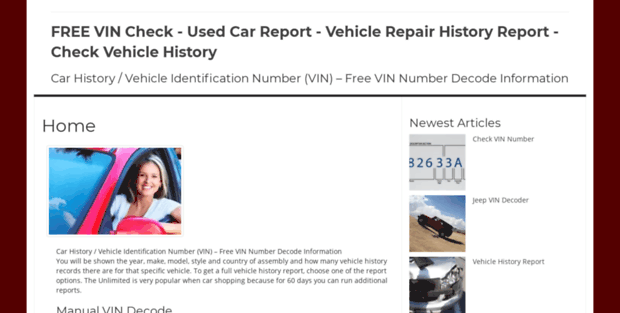 check vin free used car report vehicle repair history report check vehi. Black Bedroom Furniture Sets. Home Design Ideas