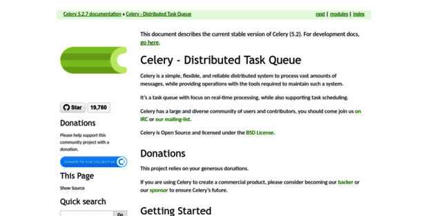Docs Celery Project  Celery - Distributed Task Queue