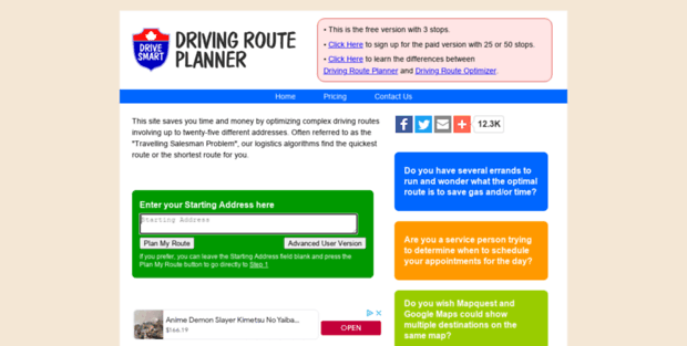 Driving Route Planner Driving Distance Optimizer >> Drivingrouteplanner Com Driving Route Planner Driving Distance