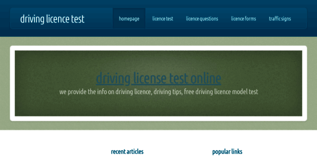 Free Driving Test. Driving Licence Test and Sample Driving Licence ...