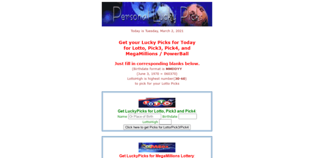 Lucky Picks  Personal Lucky Picks - YOUR FREE Personal Lucky Numbers