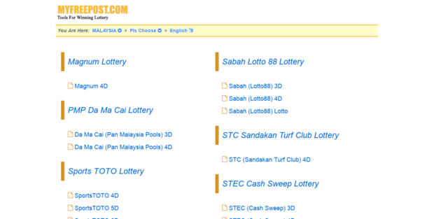 My Myfreepost  Latest Malaysia Lottery Results for Sports ToTo