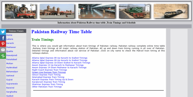 Railpk  Pakistan Railway Time Table Train timings