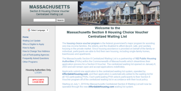 Section 8 List Mass. Section 8 Centralized Waiting List ...