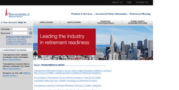 ta retirement  trs    transamerica retirement solutions