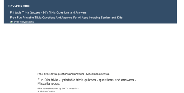 graphic relating to 90s Trivia Questions and Answers Printable known as Trivia 90s. Printable Trivia Quizzes - 90s Trivia Thoughts