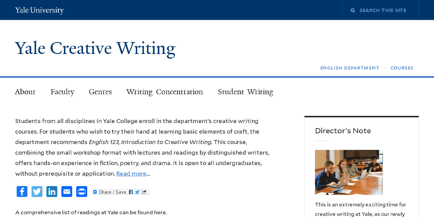 Yale creative writing department Facebook Student Writing